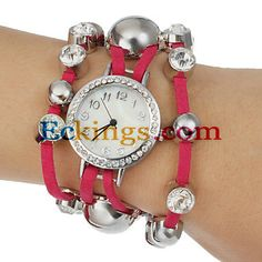 Women's Small Bell Round Dial PU Band Quartz Analog Bracelet Watch (Assorted Color) : Online Shopping for Watches, Toys & more