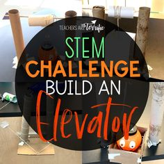 STEM Challenge- build an elevator that will lift an object by using a cranking device. Perfect for upper elementary students. Students must build a platform and a crank that will work to lift a load. Stem Projects, School Projects, Science Projects, School Ideas, Stem Teacher, Stem Classes, Stem Challenges, Upper Elementary, Elementary Education