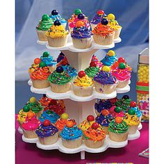 Reusable 3  Tier Scalloped Cupcake Stand Centerpiece by microcakes, $14.95