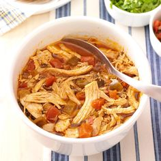 Spicy Shredded Chicken Recipe -I love Mexican food, but not the high calorie count that often comes with it. This easy dish is healthy, delicious and a definite crowd pleaser! I like to serve the chicken with warm tortillas, rice, beans and salsa. For an equally awesome dish, you can easily substitute beef or pork for the chicken. —Heather Walker, Scottsdale, Arizona