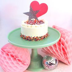 Fluorescent Pink Heart Cake Topper – Bash Party Goods