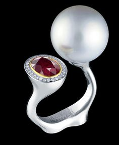 Jewellery Theatre: Jewellery Bionics Ring, 18k white gold, Ruby, diamonds and white pearl.