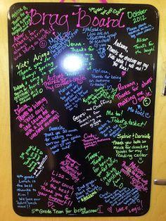 Another great idea for staff appreciation: Brag Board @Joanna Szewczyk Szewczyk Mariani... PC White House?!!!!!