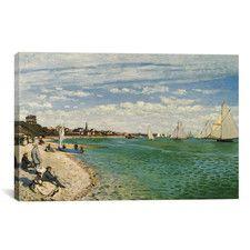 """Regatta at Sainte-Adresse 1867"" by Claude Monet Painting Print on Canvas"
