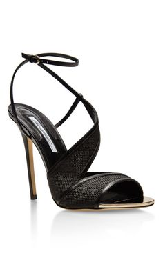 Pansy Leather and Raffia Sandals by Brian Atwood - Moda Operandi