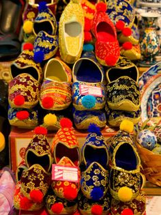 Display of Shoes for Sale at Vendors Booth, Istanbul, Turkey