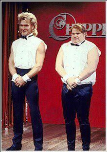 Patrick Swayze and Chris Farley Chippendales SNL skit. We're Chippendales. Lisa Niemi, Saturday Night Live, Best Snl Skits, Bambi, Houston, Chris Farley, Nostalgia, Patrick Swayze, Dirty Dancing