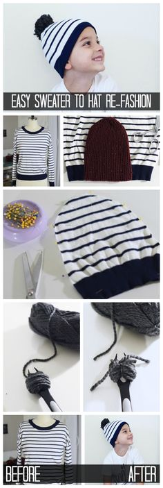 Turn your old sweater into a new beanie with this quick re-fashion. All you need is an old sweater, sewing machine and a beanie (for reference). | Sewing Projects for Beginners | Easy Holiday DIY Gifts | Sewing Projects