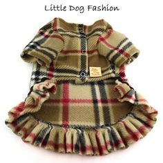 Camel London Plaid Dog Fleece Sweater Dresses by LittleDogFashion