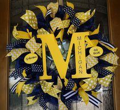 Michigan Wreath, Wolverines Wreath, Uof M Wreath, University of Michigan Wreath, Michigan Door Hanger, MIchigan Door Decor by Texascaseyscreations on Etsy