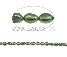 Free Shipping!!! 15-Inch/Lot Fashion Green Button Cultured Freshwater Pearl Craft Beads 6mm Womens Jewelry Findings Wholesale(China (Mainland))