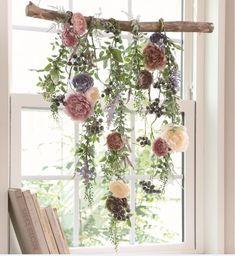 Decorating with a Vintage Ladder - Gratefully Vintage Hanging Flowers, Flower Garlands, Paper Flowers, Flower Backdrop, Diy Home Decor, Room Decor, Deco Floral, Flower Wall, Dried Flowers