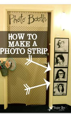 """this print is about 4 feet long and it was super cheap! Sugar Bee Crafts: Giant Photo Strip, for cheap, Tutorial. use a photo strip as a decoration in the """"tent"""" Bee Crafts, Easy Crafts, Diy And Crafts, Photo Projects, Craft Projects, Craft Ideas, Craft Tutorials, Diy Spring, Spring Crafts"""
