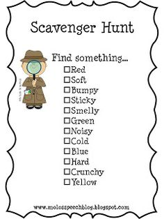 Best Fun Games For Kids Babysitting Scavenger Hunts Ideas Summer Activities, Learning Activities, Preschool Activities, Kids Learning, Senses Activities, Five Senses Preschool, Physical Activities, Teaching Resources, Scavenger Hunt For Kids