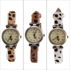 Leopard Leather Strap Roma Number Dial Bracelet Watch
