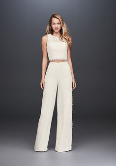 I found this wedding dress on The Knot! What do you think? Today rehearsal dinner ideas may be anything from large gatherings in high class ho. Fairy Wedding Dress, Bridal Wedding Dresses, Designer Wedding Dresses, Wedding Venues, Wedding Pantsuit, Bachelorette Outfits, Wedding Jumpsuit, Unconventional Wedding Dress, Civil Wedding