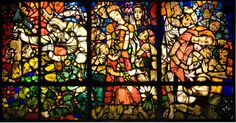 Stained glass window on the subject of conserving plants by Ervin Bossanyi (1891-1975)