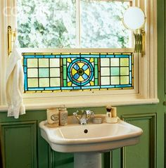 Green Bathroom with washbasin below the window (stained glass). Stained Glass Panels, Leaded Glass, Stained Glass Art, Mosaic Glass, Glass Doors, Bathroom Windows, Glass Bathroom, Glass Kitchen, Kitchen Sink