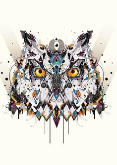 This detailed owl illustration is part of illustrator Yo Az's animal series, which also features a stunning stag, bear, lion, bull and elephant Illustration Design Graphique, Digital Illustration, Le Dab, Art Visage, Owl Art, Elements Of Art, Vector Art, Design Art, Art Drawings
