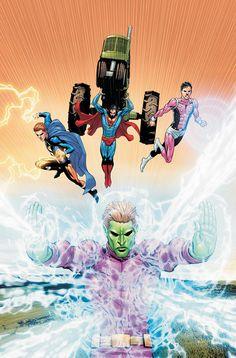 Brainiac Superboy, Cosmic Boy and Lightning Lad in Smallville by by Scott Clark & David Beaty 519 Legion Of Superheroes, Dc Comics Heroes, Fun Comics, Comic Books Art, Comic Art, Book Art, Star Trek, Saturn Girl, Cosmic Boy