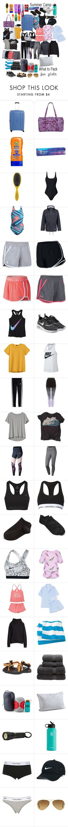 """""""What to pack for Summer Camp"""" by majacool2006 ❤ liked on Polyvore featuring Vera Bradley, Banana Boat, Reef, Herbal Essences, Colgate, Drybar, NIKE, Stutterheim, Under Armour and New Balance"""