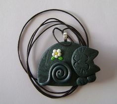 fimo polymer clay cat necklace by Coloraudia, via Flickr