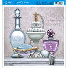 Papel para Arte Francesa Litoarte 21 x 21 cm - Modelo AFQ-344 Perfume e Sabonete - CasaDaArte