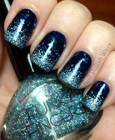 Glittering tips - Navy base, navy glitter on top - tips sponged with light blue glitter