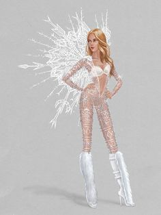 A sneak peek at the lavish Ice Angels theme—this sparkling bodysuit + Candice Swanepoel = everything. #VSFashionShow
