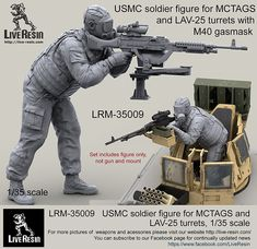 USMC soldier figure for MCTAGS and turrets with realistic gasmask. Recommended for use with Live Resin set - on PLATT Swing mount ans any Live Resin turret. gasmask, model based on scan.