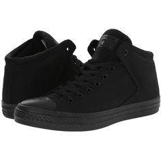 Converse Chuck Taylor All Star High Street Mono Canvas Hi Lace up... ($60) ❤ liked on Polyvore featuring shoes, sneakers, converse, black, canvas lace up sneakers, converse high tops, grip trainer, black sneakers and black canvas shoes