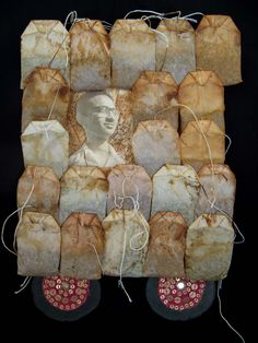 Teacart mixed media collage with teabags by ericaharris on Etsy #PinTeaTuesday