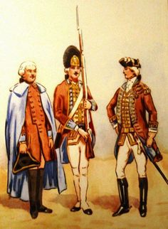 Regiment Foot Guard of the Crown in 1765. From left to right: a private in winter uniform, grenadier, a staff officer. Fig. B. Gembarzewski.