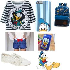 Donald Duck by alycatmc on Polyvore featuring polyvore fashion style Wet Seal Vans