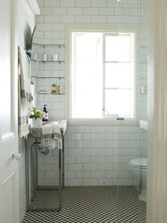 simple subway tile bath