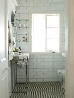 cute small bathroom + love the hand towels
