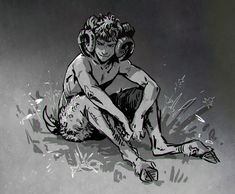 """And for today's """"not doing what I should be doing"""" sketch I bring you a random faun."""