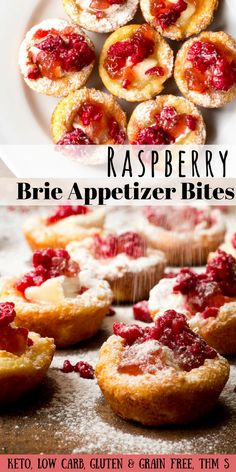 Brie Appetizer Bites with Raspberry Low Carb Keto Gluten-Free Grain-Free THM S  - If you need an easy but impressive appetizer for entertaining try my Brie Appetizer Bites with Raspberry. Only 8 ingredients and about 10 minutes of prep and they are beautiful enough to wow your guests.