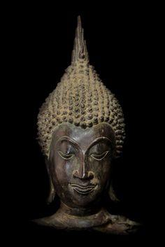 Extremely Rare 18C Bronze Chiangsang Buddha Head # BB193