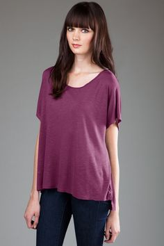 BP - 3PMSL867 - Front - Orchid -- eco ProModal® Slub Fine Jersey Top with Hi-Low Step Hemline -- Ultra-soft loose, wide fit tee with scoop neckline and hi-low step hemline. Made in USA. • Sizes: S-L, 5.1 oz., Eco ProModal® Slub Fine Jersey • Garment dyed and washed, preshrunk, ethereally soft, feather-light feel and fantastic drape. • Self fabric set-in collar.