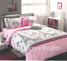 PARIS CHIC Ooh La La Pink/Black/Silver SINGLE Quilt Cover Set/Fitted