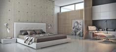 chambre à coucher minimaliste avec mur d'accent en béton, lambris mural bois et tableau portrait
