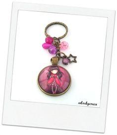 Porte clés  bijou de sac  Gorjuss  Bronze  cabochon  par alodycrea - keychain…