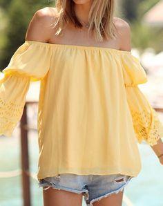 flare sleeve off the shoulder blouse