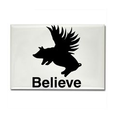Flying Pig Rectangle Magnet