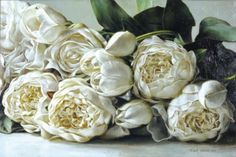 Beautiful painting of white peony roses by talented Irish artist, Mark O'Neill