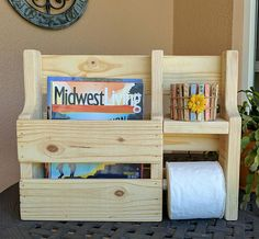 """Rustic Magazine Rack Toilet Paper Holder - 14"""" high x 18 1/2"""" wide x 4 1/2"""" deep. The small shelf (above toilet paper roll) is 5 1/4"""" wide x 3 1/2""""deep."""