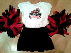 DIY Mini Cheer Uniform {easy iron-on embellishment shirt + pleated skirt + felt pom-poms}