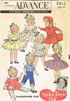 """1950s Vintage 19"""" Shirley Temple Doll Clothes 1958 Advance Sewing Pattern 8813"""