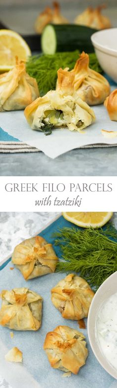 Greek filo parcels - cute little easy-to-make pastry parcels stuffed with spinach and feta cheese. Mmmm!